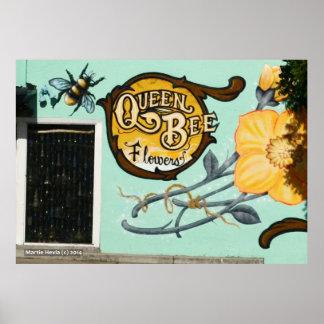 Flores de la abeja reina póster