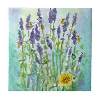 Flores de la acuarela de la lavanda de las abejas azulejo cuadrado pequeño