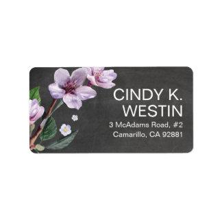 Flores de la acuarela de las ramas de la lila de etiquetas de dirección