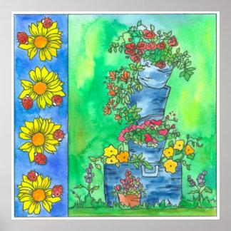 Flores de la acuarela de los rosas rojos de los póster