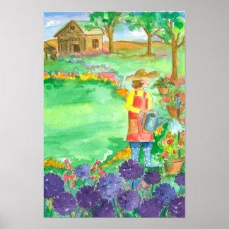 Flores de la acuarela del allium de la mujer que póster