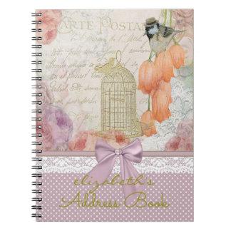 Flores de la acuarela del vintage y agenda del spiral notebooks