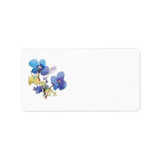 Flores de la acuarela etiquetas de dirección