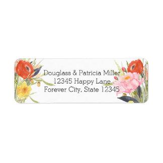 Flores de la acuarela etiqueta de remitente