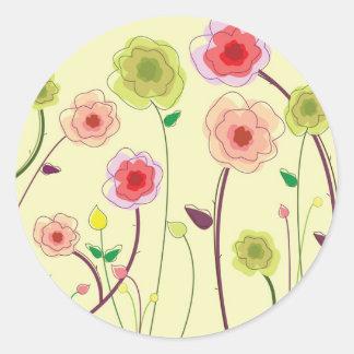 Flores de la acuarela pegatina redonda