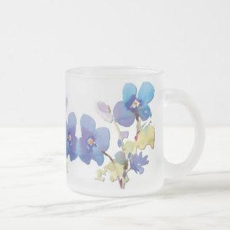 Flores de la acuarela taza cristal mate