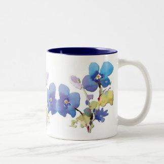 Flores de la acuarela taza dos tonos