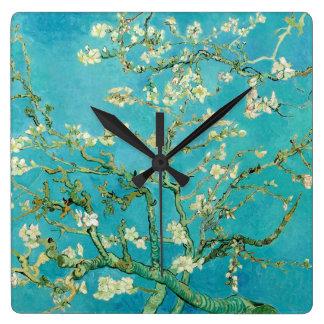 Flores de la almendra de Van Gogh Reloj Cuadrado