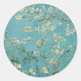 Flores de la almendra de Vincent van Gogh Pegatina Redonda