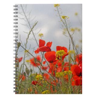 Flores de la amapola común en un campo spiral notebooks