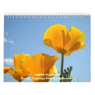 Flores de la AMAPOLA del calendario de las