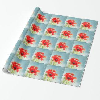 Flores de la amapola papel de regalo