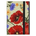 Flores de la amapola, pétalos, hojas - azulverde iPad mini protector