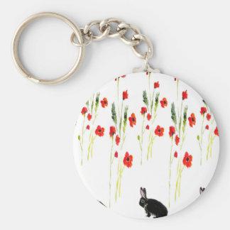 Flores de la amapola y un conejo de conejito lindo llavero redondo tipo pin