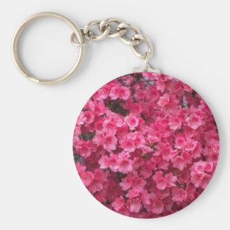 Flores de la azalea de las rosas fuertes llavero redondo tipo pin