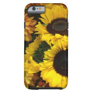 Flores de la caída del girasol funda resistente iPhone 6