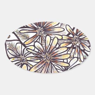 Flores de la caída pegatina ovalada