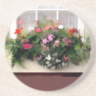 Flores de la caja de ventana posavasos para bebidas