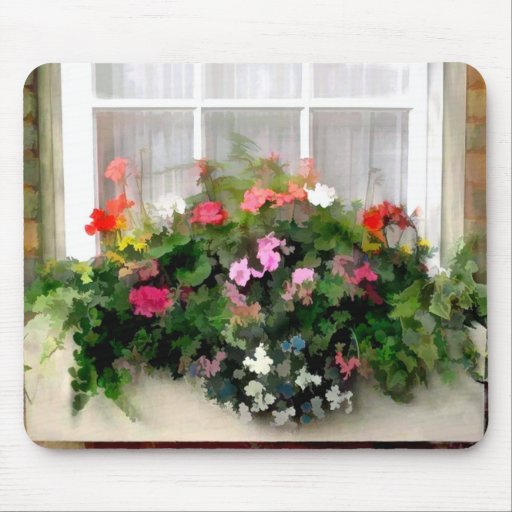 Flores de la caja de ventana tapete de ratón