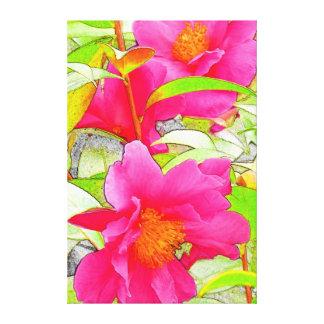 Flores de la camelia impresión en lienzo