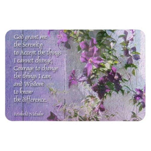 Flores de la cerca del rezo de la serenidad imán rectangular