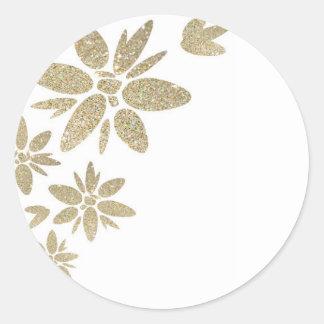 Flores de la chispa del oro del producto del pegatina redonda