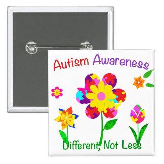Flores de la conciencia del autismo chapa cuadrada 5 cm
