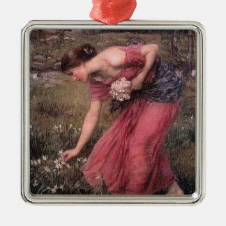 Flores de la cosecha de Narsissus Adorno Navideño Cuadrado De Metal