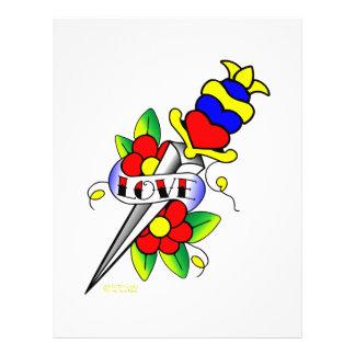 Flores de la daga y tatuaje del amor flyer personalizado