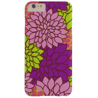 Flores de la dalia, flores - verde púrpura rosado funda para iPhone 6 plus barely there