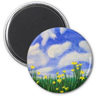 Flores de la ensenada del golfo en un campo brilla imán redondo 5 cm