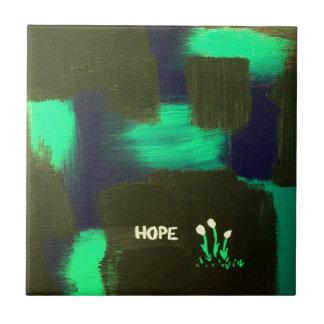 """Flores de la """"esperanza"""" de la oscuridad azulejo cuadrado pequeño"""