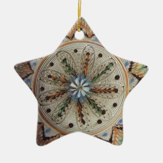 Flores de la estrella del arte popular adorno navideño de cerámica en forma de estrella