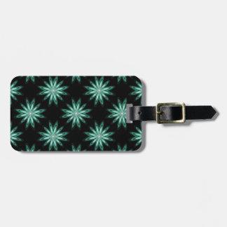 Flores de la estrella del verde de mar en etiqueta etiquetas para equipaje