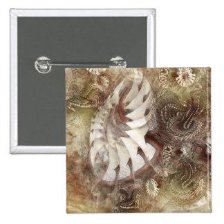 Flores de la fantasía pin cuadrada 5 cm