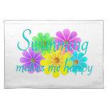 Flores de la felicidad de la natación manteles individuales