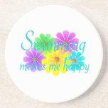 Flores de la felicidad de la natación posavasos personalizados