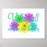 Flores de la felicidad del voleibol posters