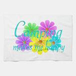Flores de la felicidad que acampan toallas de mano