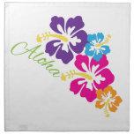 Flores de la hawaiana servilletas imprimidas