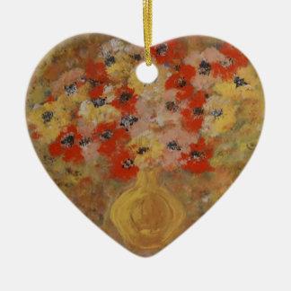 Flores de la intuición adorno navideño de cerámica en forma de corazón