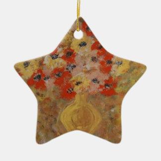Flores de la intuición adorno navideño de cerámica en forma de estrella