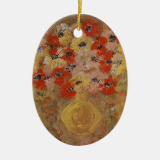 Flores de la intuición adorno navideño ovalado de cerámica