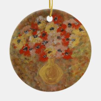 Flores de la intuición adorno navideño redondo de cerámica