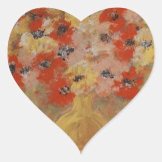 Flores de la intuición pegatina en forma de corazón
