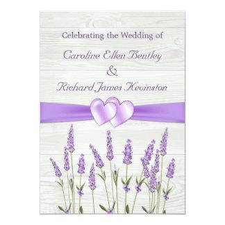 """Flores de la lavanda, corazones en el boda de invitación 5"""" x 7"""""""