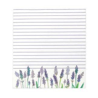 Flores de la lavanda de la acuarela alineadas libretas para notas