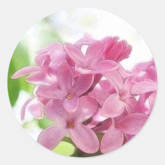 Flores de la lila en la luz del sol de la mañana etiquetas