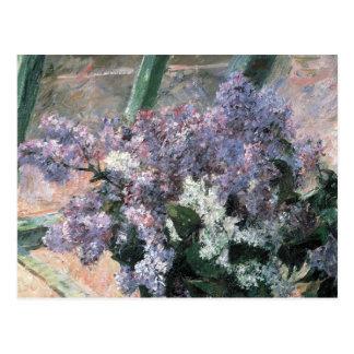 Flores de la lila en una postal de la bella arte d