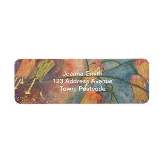 Flores de la madreselva del arco iris etiquetas de remite